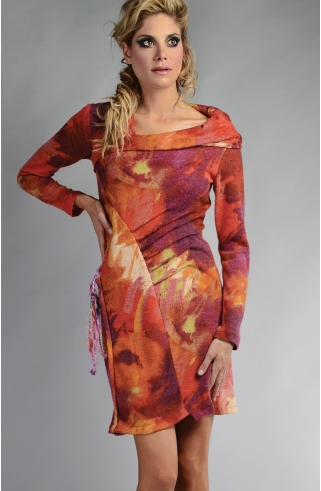 Robe maille rose laine FLORINA RS