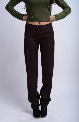 Pantalon marron rayé Métal RS
