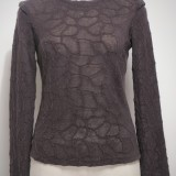 Pull fin marron laine Mohair col rond RS