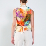 Top Gilet soie multicolore RS