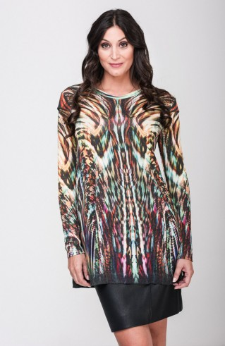 Pull fluide long stylé couleur Jungle RS