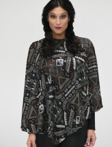 Poncho noir jacquard col rond COSMO RS